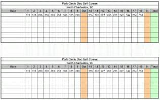 golf scorecard template park circle disc golf course in charleston south