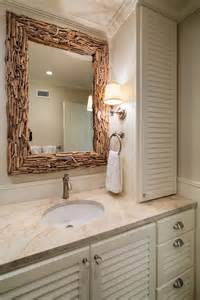 coastal guest bathroom with driftwood mirror hgtv