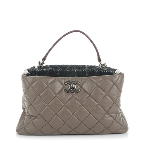 Chanel Portobello Large chanel aged calfskin tweed large quilted portobello tote grey 205348