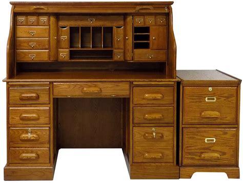 oak computer desk with filing 53 3 4 quot w deluxe oak roll top desk in stock