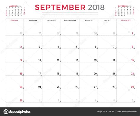 tolkien calendar 2018 buecher de 2018 年 9 月 日历策划设计模板 周从星期日开始 文具设计 图库矢量图像 169 antartstock 162106364