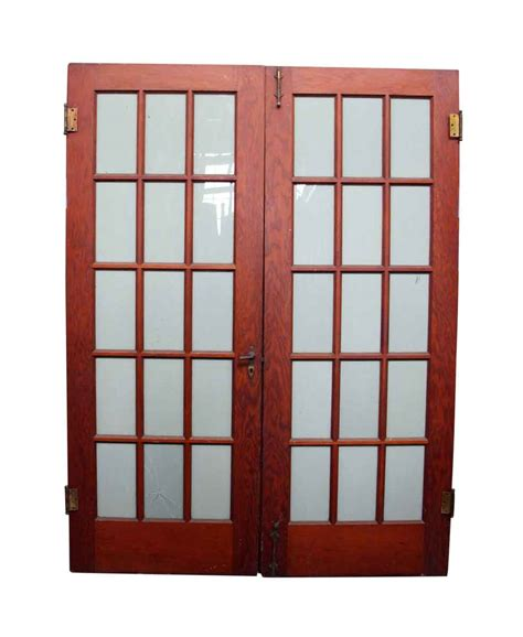 Wood Door With Glass Panel Pair Of 15 Glass Panel Wood Doors Olde Things