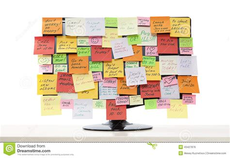 post it bureau pc monitor with post it notes stock photo image of billboard