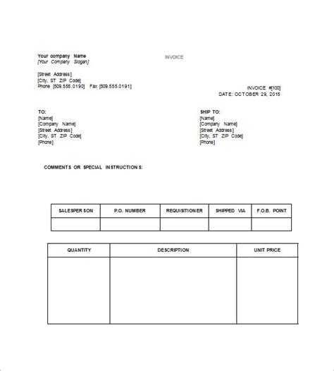 tax invoice template word doc invoice exle