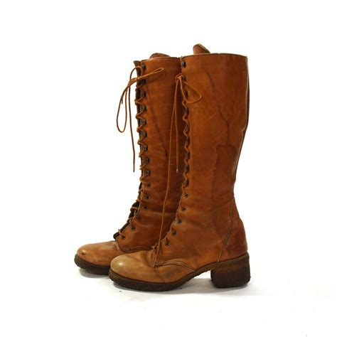 lace up knee high cus boots zodiac brown distressed