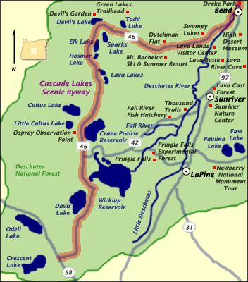 map of oregon lakes cascade lakes scenic byway oregon