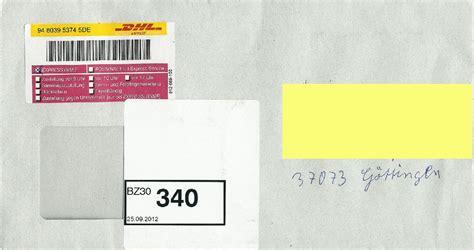 Reklamation Dhl Express Brief Dhl Express Brief Sendungsnummer