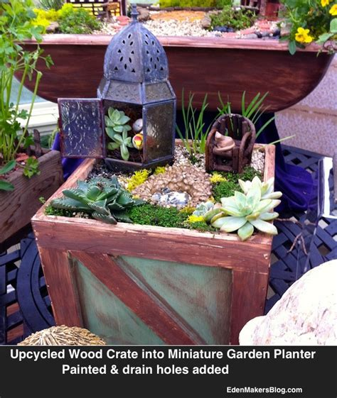beach themed miniature garden  upcycled wood planter