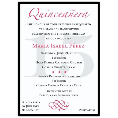 quince invitation templates quinceanera invitation wording template best template