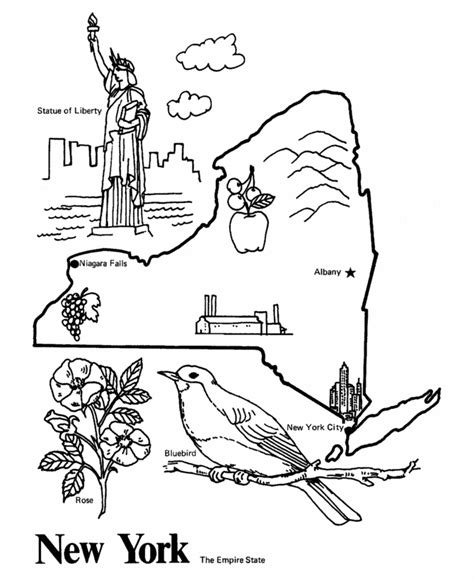 new york state outline coloring page kinders