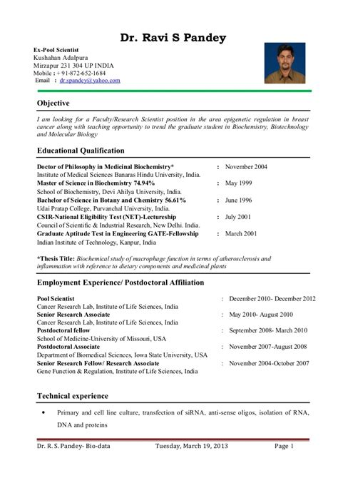 resume sles for faculty dr ravi s pandey resume for assistant professor research