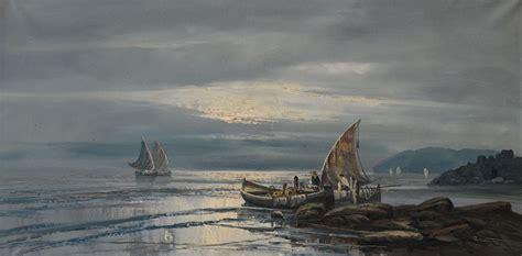 remo testa pittore remo testa italia xx secolo marina con pescatori di