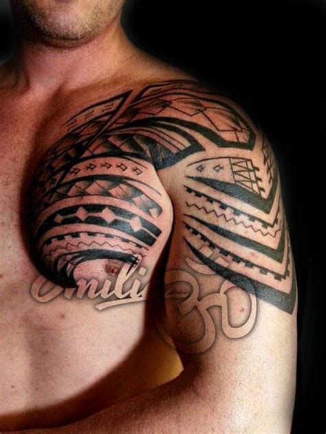 tattoo on shoulder and chest polynesian shoulder and half chest tattoo balinese