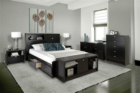 series  storage platform bed black