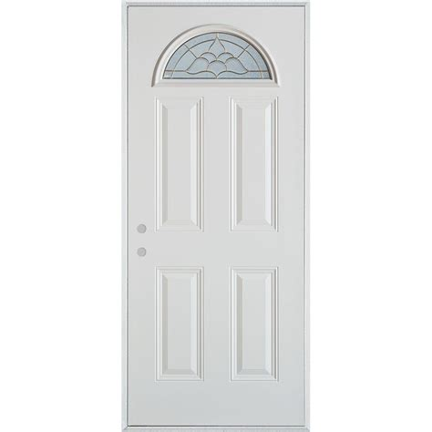 Stanley Exterior Door Stanley Doors 32 In X 80 In Traditional Brass Fan Lite 4 Panel Painted White Right