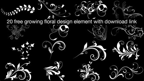 design elements youtube 20 free growing flourish floral design elements hd youtube