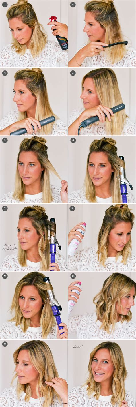 curling hair tutorial for med hair how to piecey waves