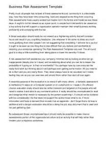 business risk assessment template business risk assessment template