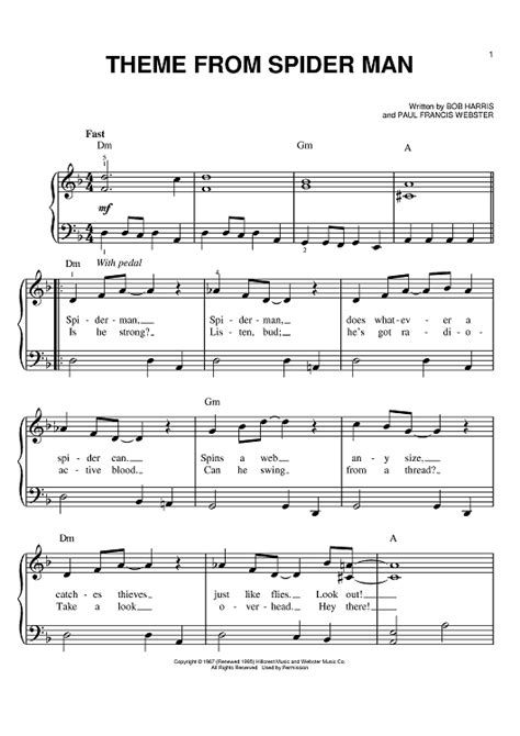 theme song spiderman theme from spider man sheet music music for piano and