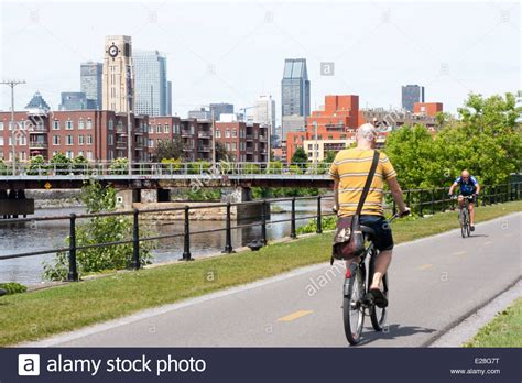 pedal boat lachine canal cyclists pedal along a bike path by the lachine canal in