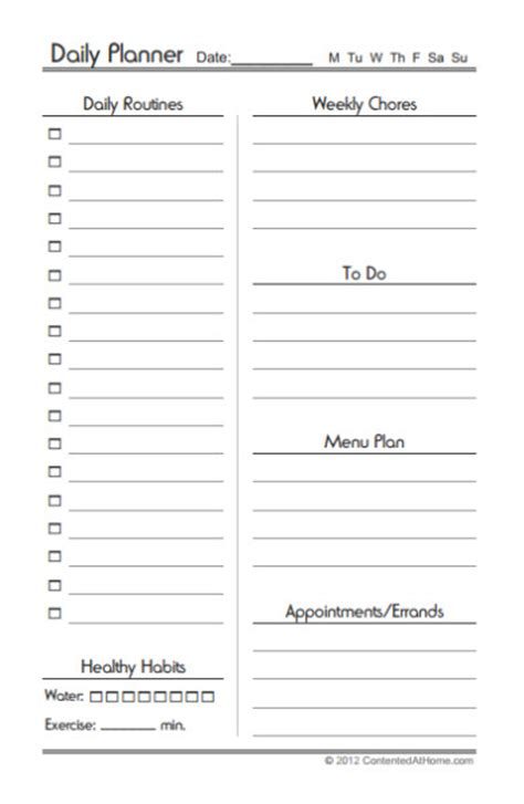 free printable half page planner free printable half size daily planner contented at home