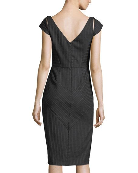 Pinstriped Sleeve Dress milly larissa cap sleeve pinstriped sheath dress