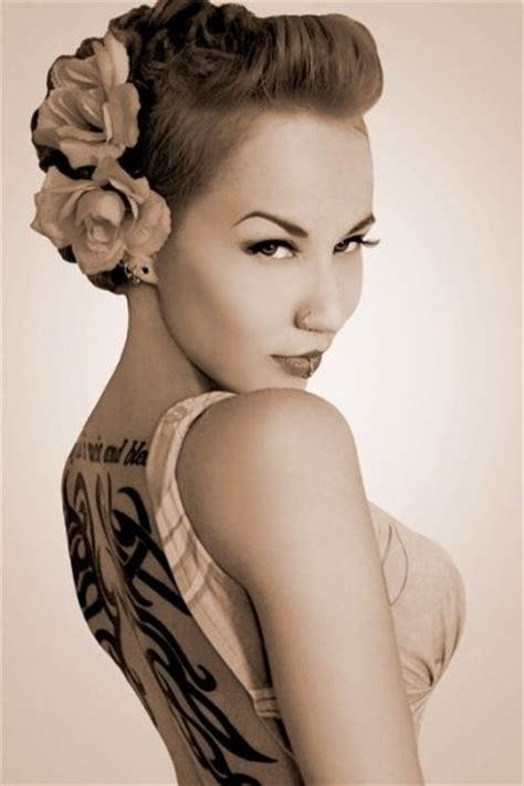 tattoo girl hairstyles gorgeous pin up look for women with short hair bad ass