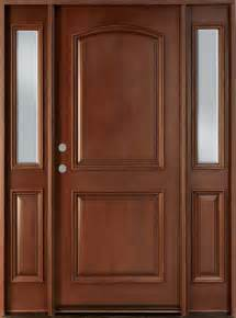 Solid Wooden Front Doors Front Door Custom Single With 2 Sidelites Solid Wood With Mahogany Finish Classic