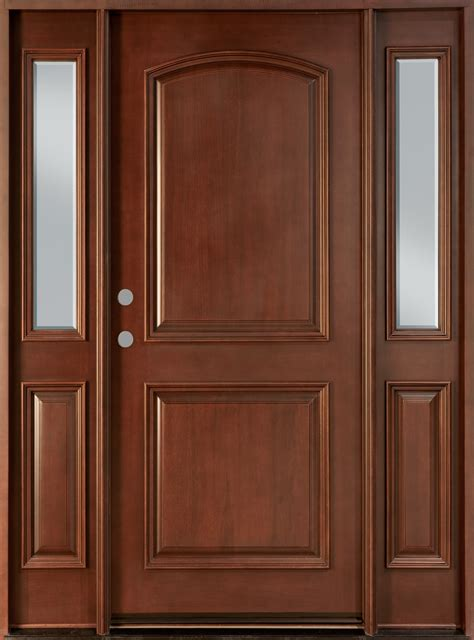 hardwood doors exterior front door custom single with 2 sidelites solid wood with mahogany finish classic