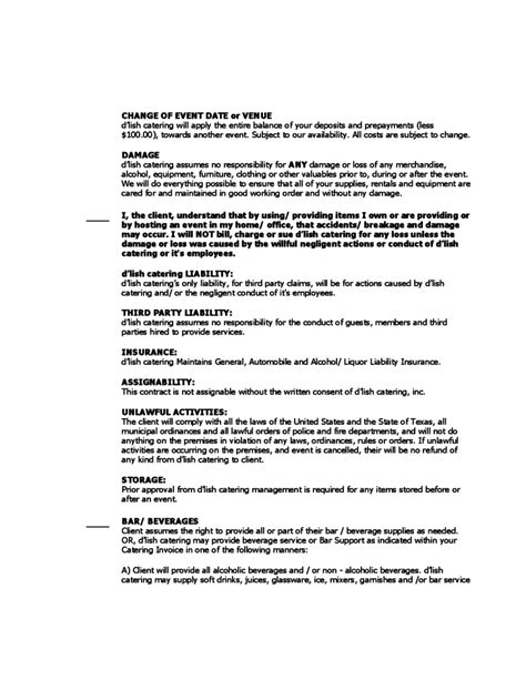 catering contract agreement template catering contract sle free