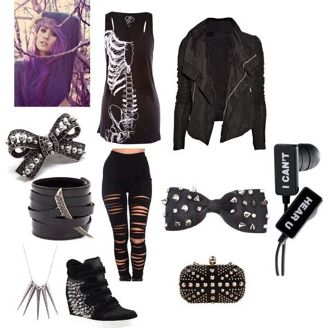 punk rock not to much goth tho teen bedroom lol shoes tank top jacket bow bracelets pants jeans