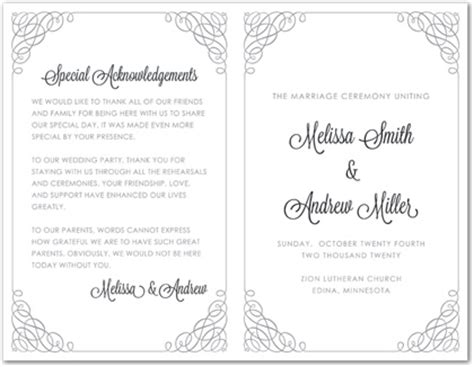 Grey Calligraphy Swash Border Bi Fold Template Downloadble Stationery 35275 Bi Fold Wedding Program Template