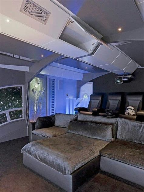 star wars themed home theater love  bed interior