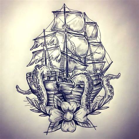 ship kraken tattoo design