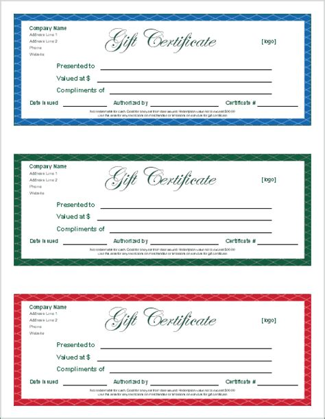 Free Gift Certificate Template And Tracking Log Gift Certificate Template Word