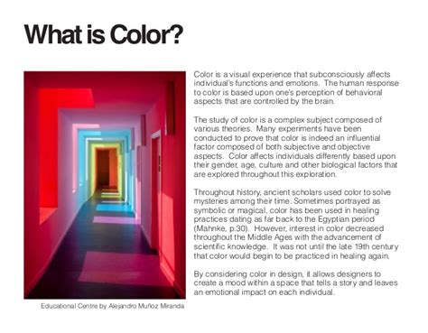 what is the meaning of architecture independent study the psychology of color in an interior