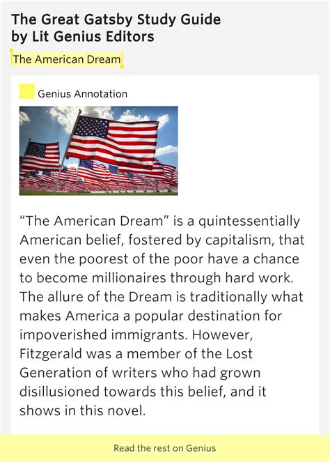analysis of the great gatsby american dream the american dream the great gatsby study guide meaning