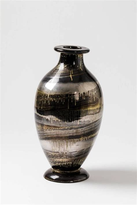 Black And Silver Vase Ceramic Vase With Black Gold And Silver Glazes By Lucien