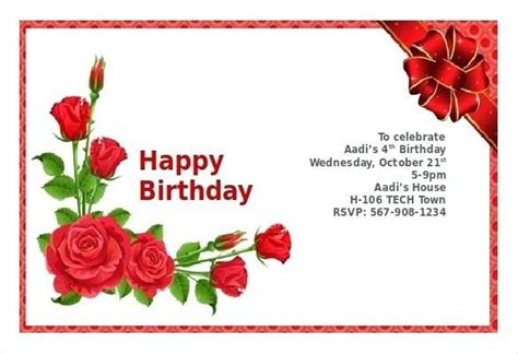 template that says cards flowers birthday card template word birthday invitation card with