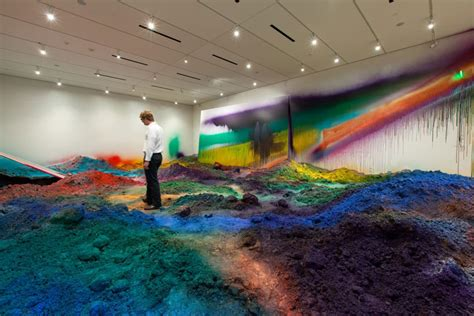 Sprei Hk Rainbow colorful mountains of spray painted soil by katharina grosse