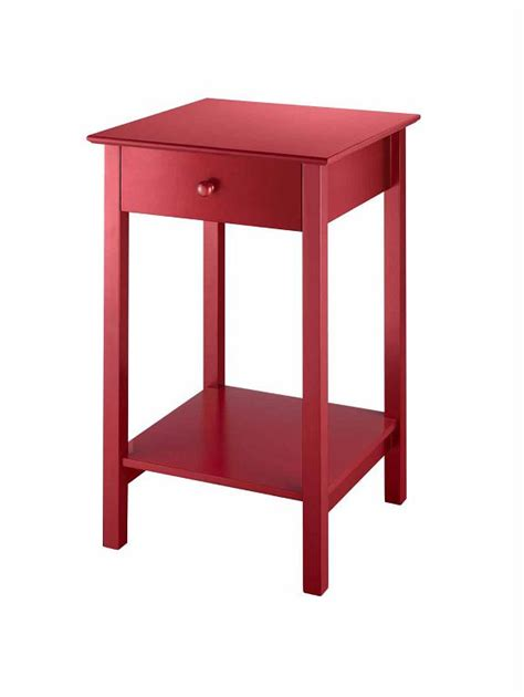 red accent tables essential home wood red square accent table