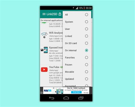 filter apps how to use link2sd to expand memory of android