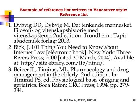 reference book vancouver 6 referencing styles