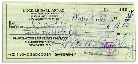 lot detail lucille arnaz signed personal check