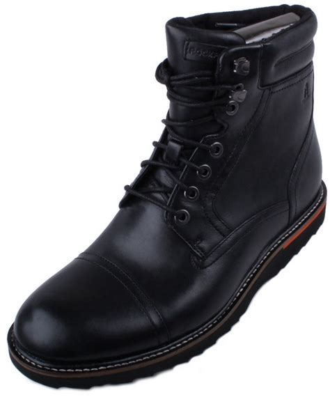 rockport union cap high mens black leather boots ebay