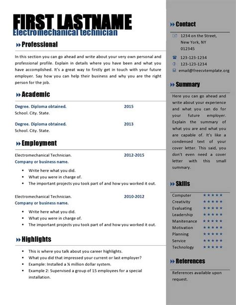 Resume Free Template by Free Curriculum Vitae Templates 466 To 472 Free Cv
