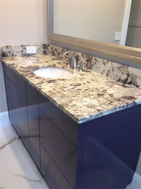 Flo Countertops by Granite Backsplash Colored Cabinets And Undermount Sink