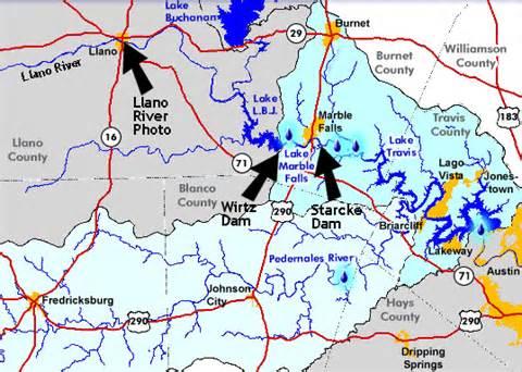 colorado river dams map texasfreeway gt gt photo gallery gt llano river flood