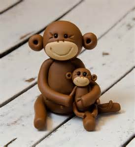 reserved for sannetta brown monkey and baby polymer clay by