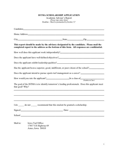 Istma College Application Youth Sports Scholarship Application Template